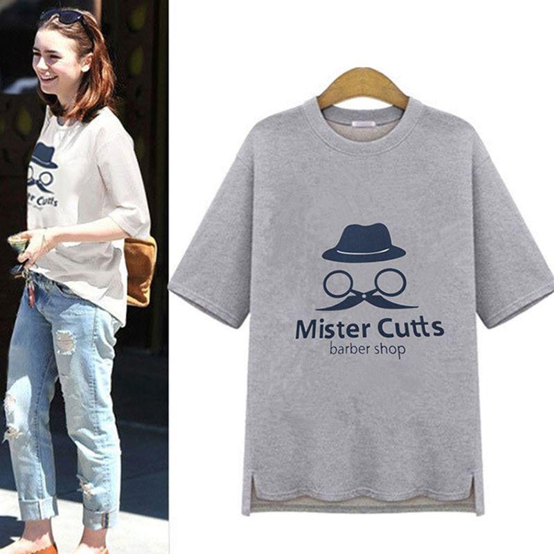 0d1861b72ccff Barber Print Camisetas Mujer Hi-lo T-shirt Women 2016 Summer Style Top  Short Sleeve Casual Tee Shirt Femme Loose T Shirt C304