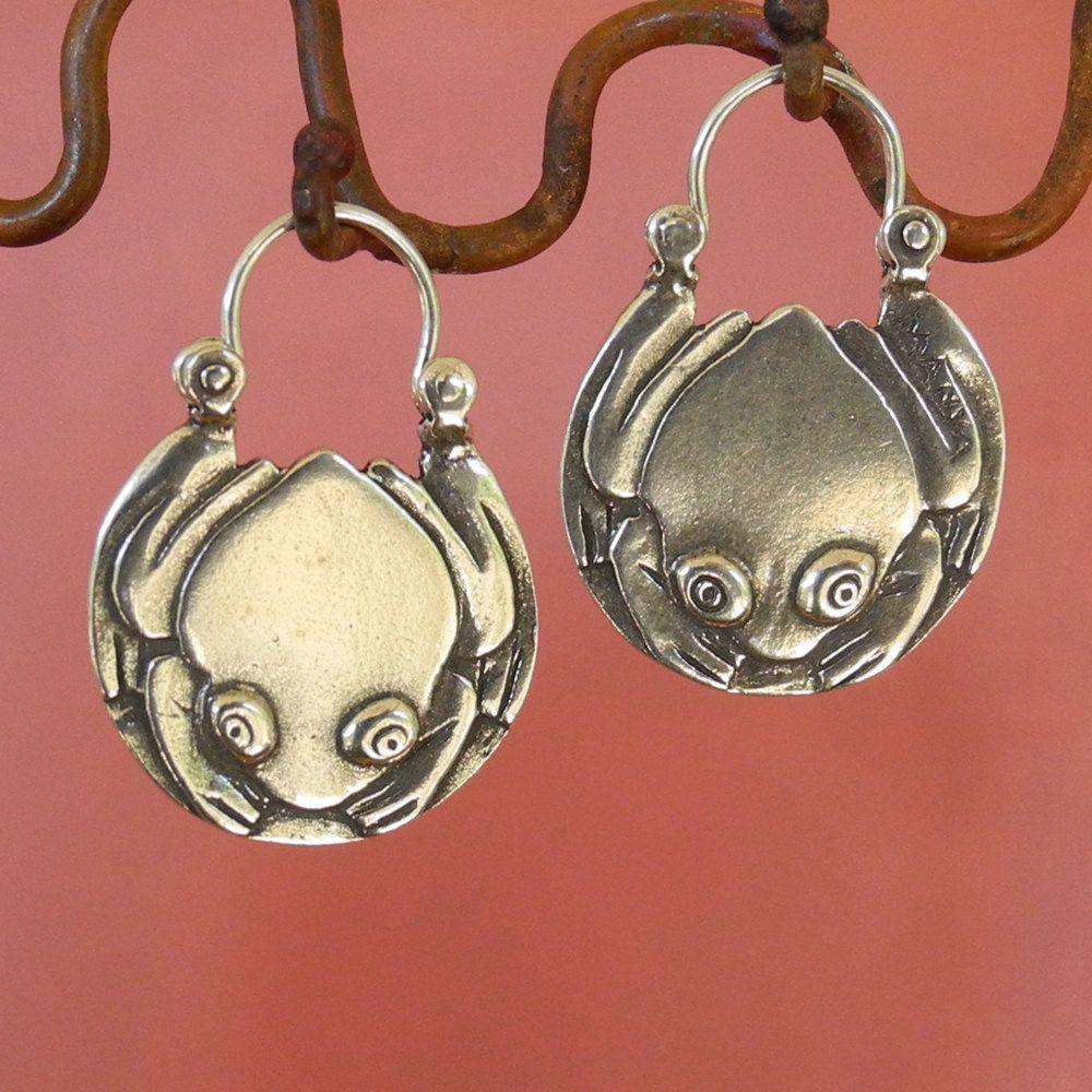 Tree Frog Hoop Earrings tribal sterling silver Crown