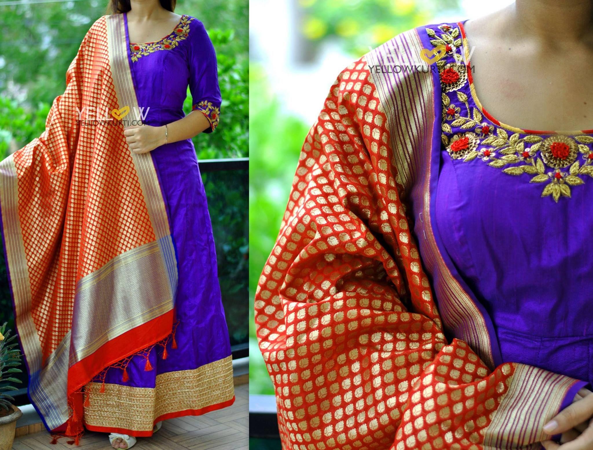 Banarsi dress facebook white gold