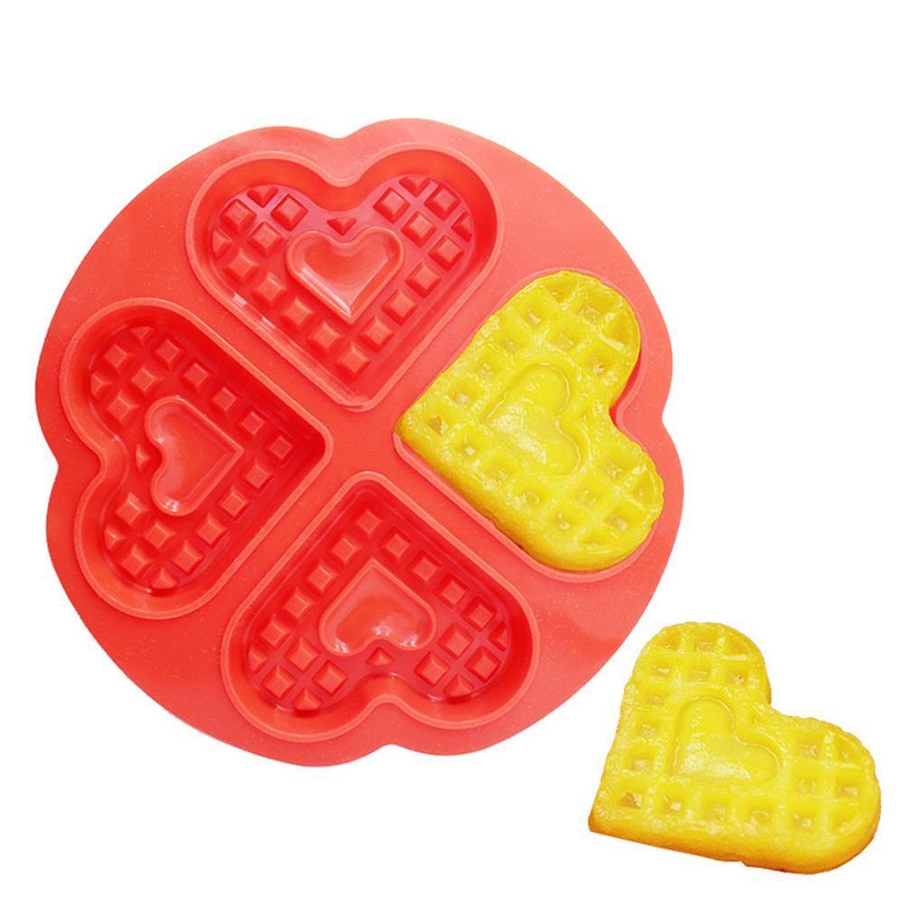 4hold heart design waffle mold creative silicone muffin