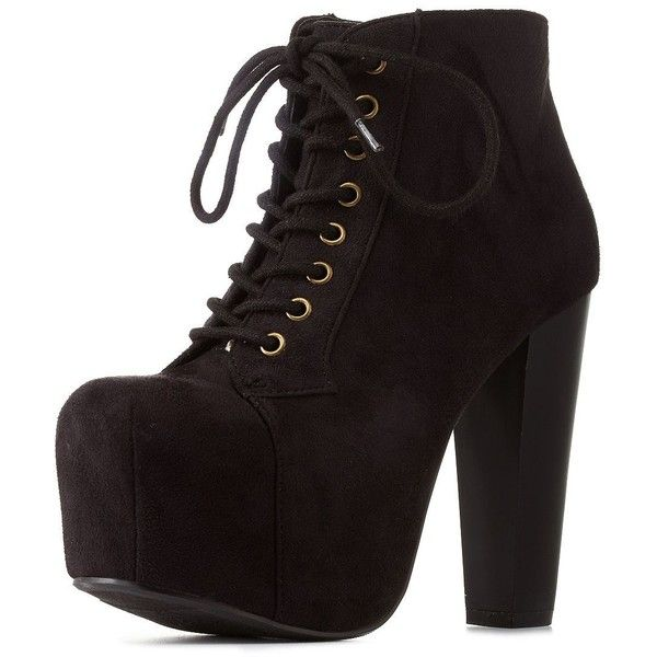 3a4b3f14033 Speed Limit 98 Lace-Up Platform Chunky Heel Booties ( 27) ❤ liked on  Polyvore featuring shoes