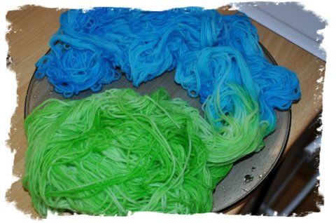 Kool-Aid dyed yarn. One of my first attempts to dye yarn. Kool Aids Lemon-Lime and Berry Blue