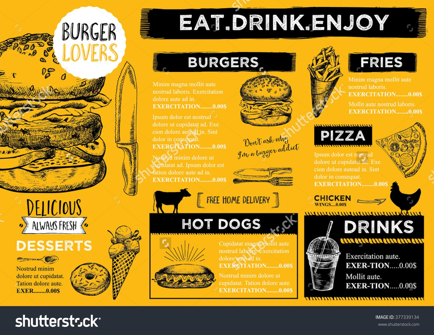 Restaurant Brochure Vector Menu Design Vector Cafe Template With