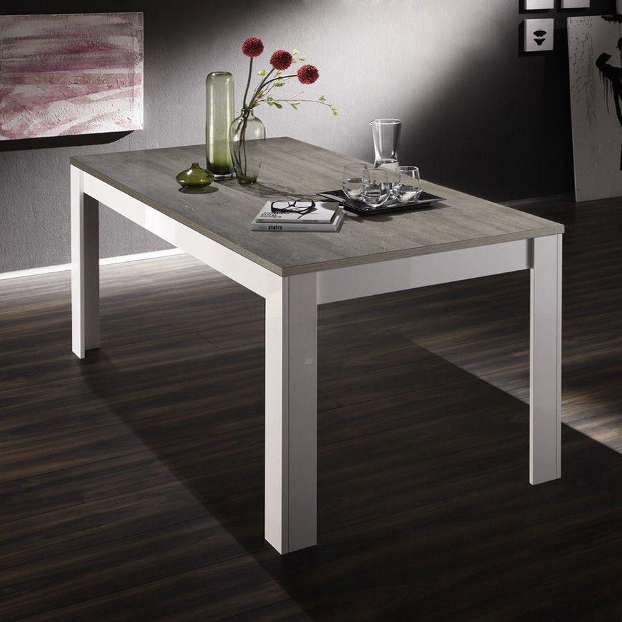 Table à Manger Laqué Blanc Et Bois Gris Moderne ELIOS Table De - Table carree blanc laque avec rallonge pour idees de deco de cuisine