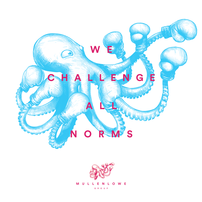 Mullenlowe Group Picks A Boxing Octopus As Its Spirit Animal In New Global Identity Octupus Drawing Spirit Animal Identity