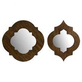 """Set of 2 wall mirrors with wood frames and a geometric motif.  Product: Small and large mirrorConstruction Material: Wood and mirrored glassColor: BrownDimensions: Small: 13.5"""" H x 18"""" W Large: 18"""" H x 18"""" W"""