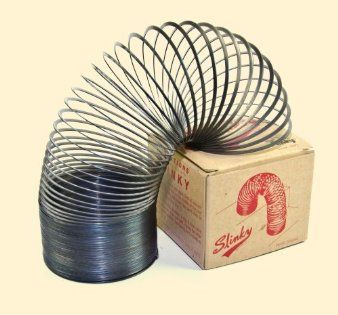 Slinky.  They still make them, but now they're made out of plastic.  Not the same!
