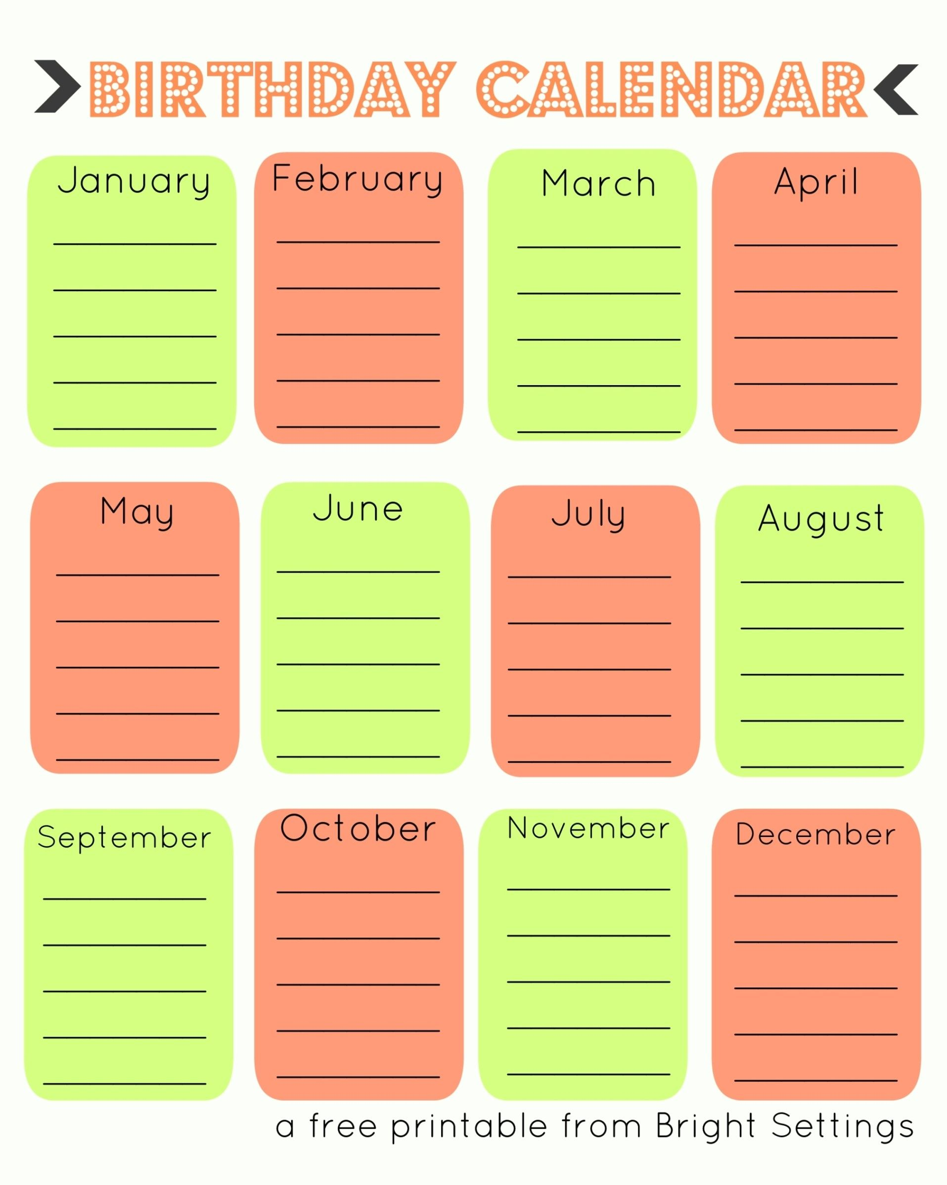 Birthday Reminder Chart Template