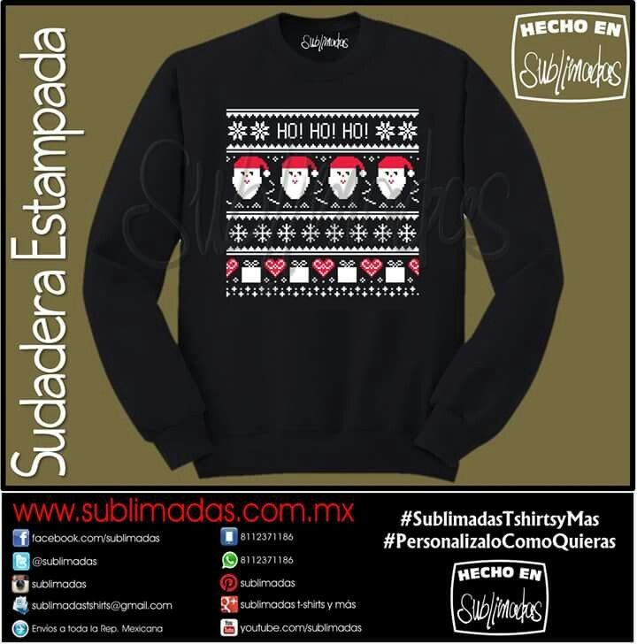 Sudadera Estampada - Santa HoHoHo #UglyChristmasSweater #SublimadasTshirtsyMas #PersonalizaloComoQuieras