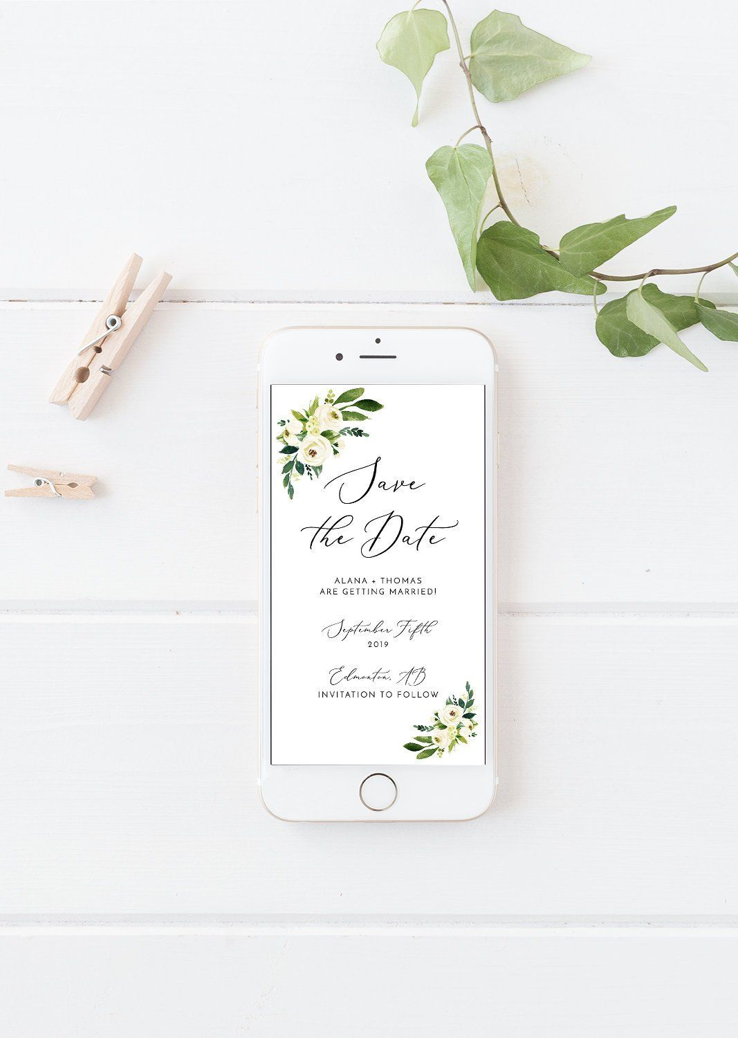 Electronic save the date invitation white roses