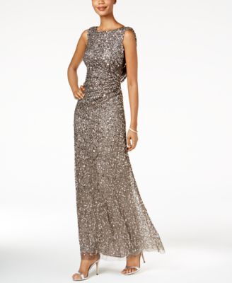 Adrianna Papell Cowl Back Sequined Gown | Gowns, Mob dresses