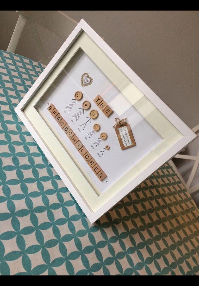 Grandparents Christmas Gift, Button Family, Scrabble Letter Frame ...