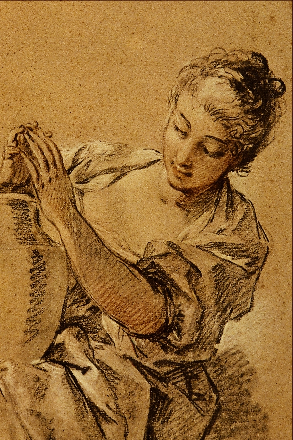 quotgirl with a jugquot by francois boucher chalk and carcoal