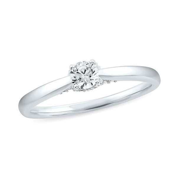1 3 Ct T W Diamond Solitaire Engagement Ring In 10k White Gold Engagement Rings Solitaire Engagement Diamond Engagement Rings