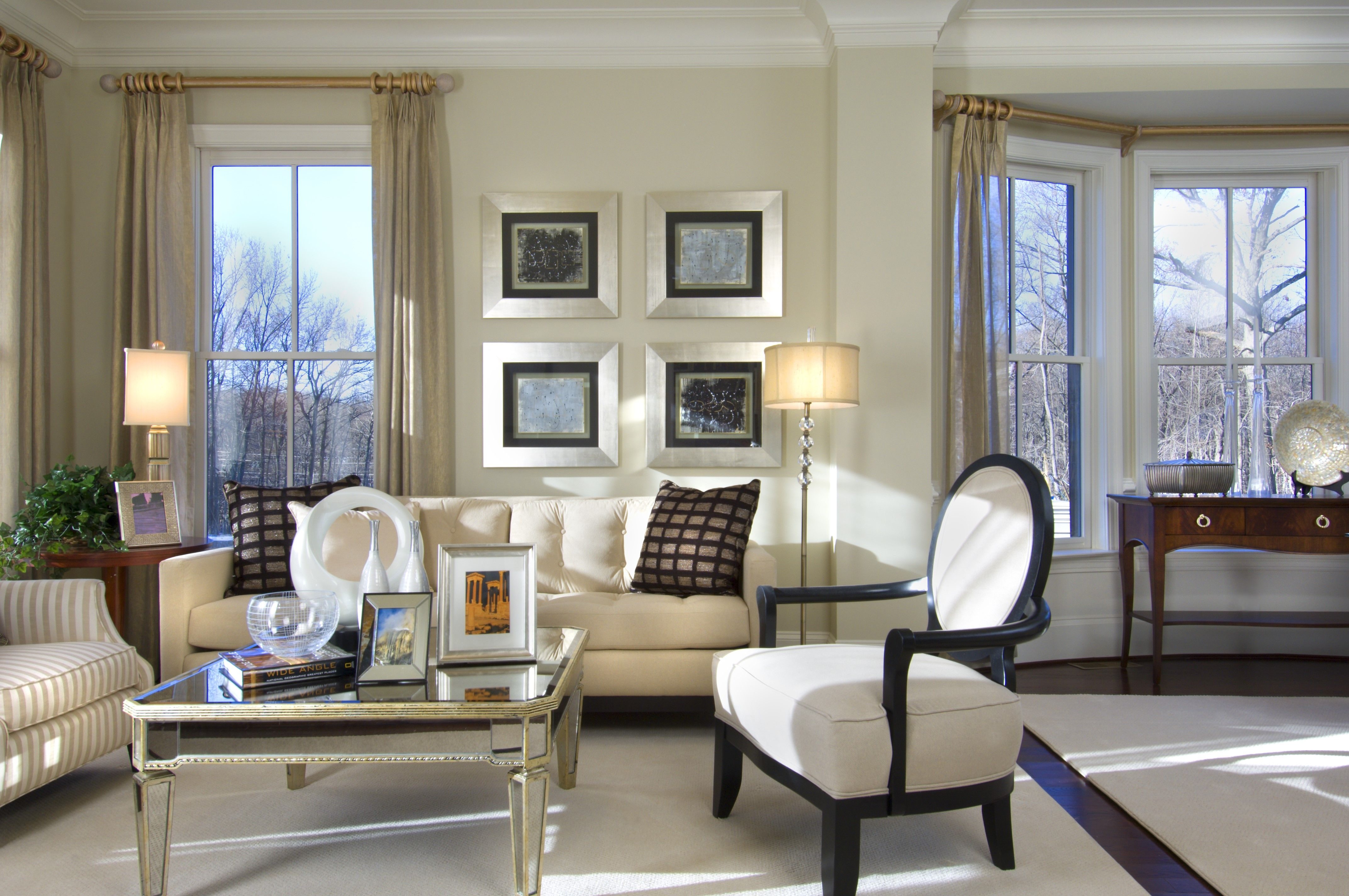 Traditional Contemporary Fusion Living Room With Black And White Color Scheme Pale Gold Accents