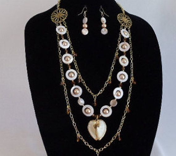 Mother of Pearl Amber Shell,Long Multi Strand Statement Necklace Set,Gold Pearl,Gold Sea Shell Pendant,Earring,Guardian Angel Dangle,#NS1068