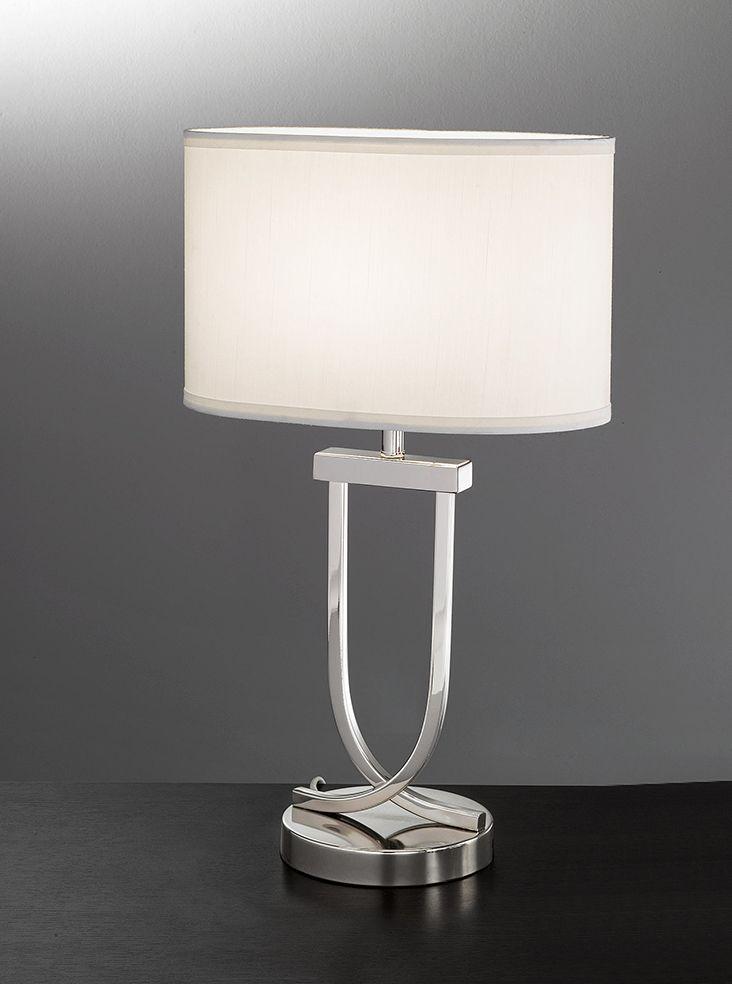 TL870 Modern table lamp, chrome & off white shade. Chrome finish ...