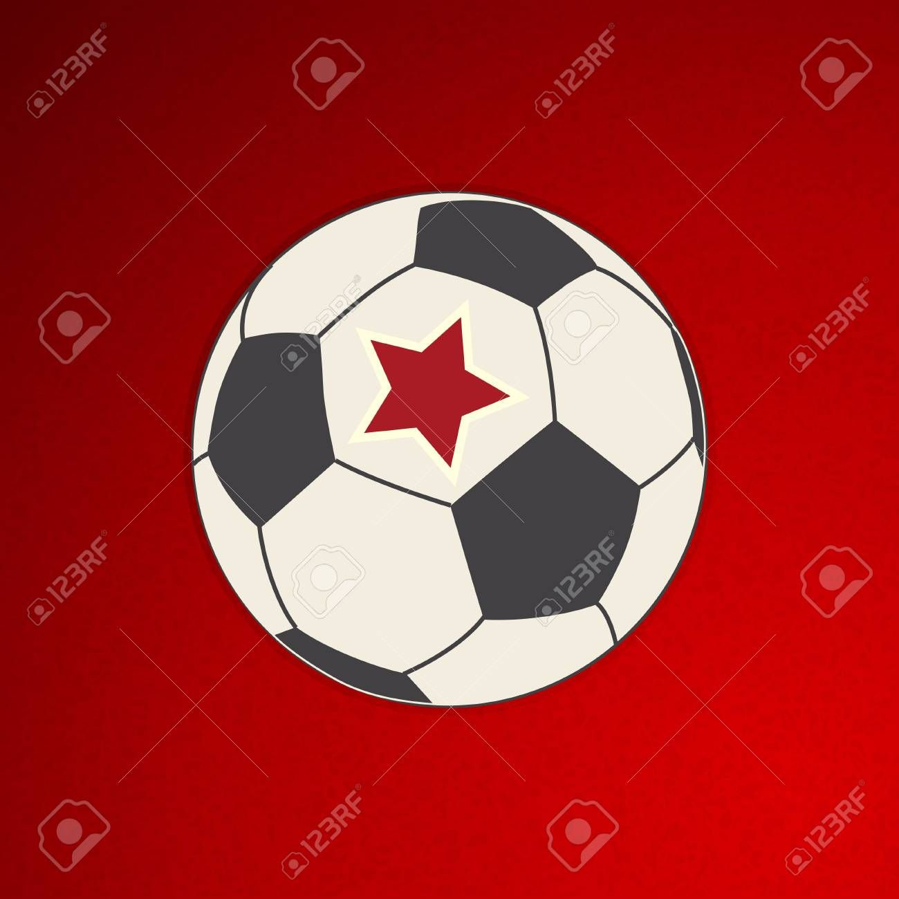 Hand Drawing Style Football Soccer Ball With Red Star Over Textured Red Background Ad Football How To Draw Hands Soccer Ball Photography Backdrop Stand