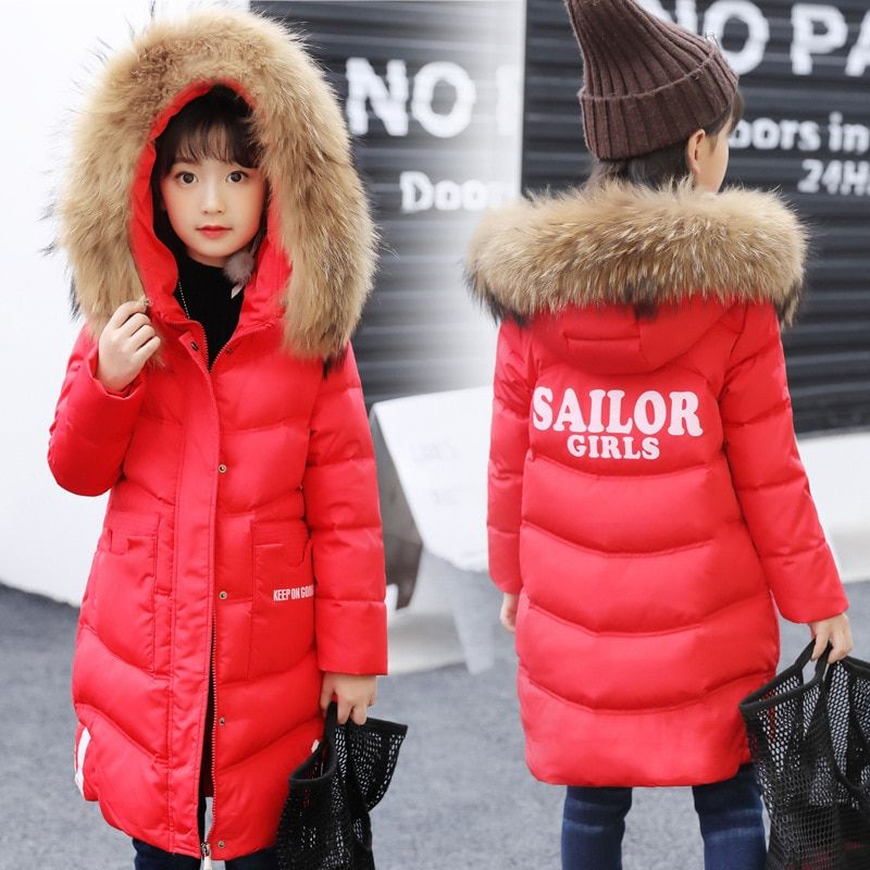 dc2e996d694 Winter Jacket for Girls Fur Hooded Girls Winter Coat Kids Winter Outerwear  Coats Thickened Warm Jacket Baby Girls Coat for 4-13Y