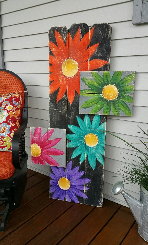 Gerber daisy pallet art large distressed by thewhitebirchstudio