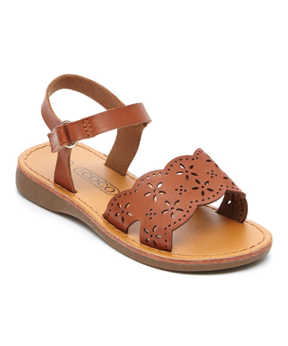 ff6268a2d43aed Look at this COCO Jumbo Brown Flower Cutout Sandal on  zulily today ...