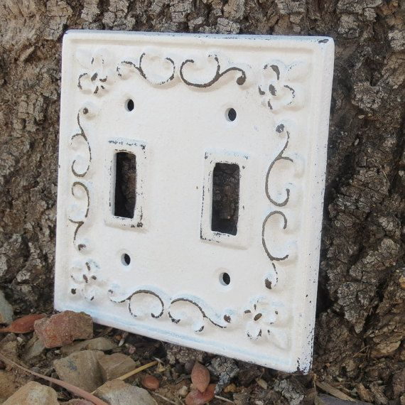 White Switch Plate Double Light Antique