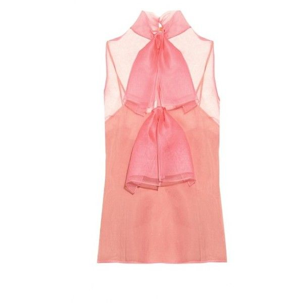 Gucci Silk-organza bow detail top (4.005 BRL) ❤ liked on Polyvore featuring tops, pink, loose summer tops, pink top, gucci, bow top and red camisole top