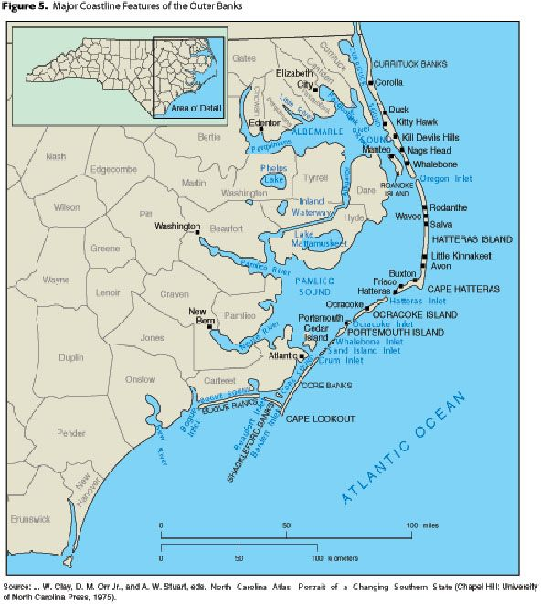 Map of north carolina coast of beaches rivers and lakes and fine map of north carolina coast sciox Gallery