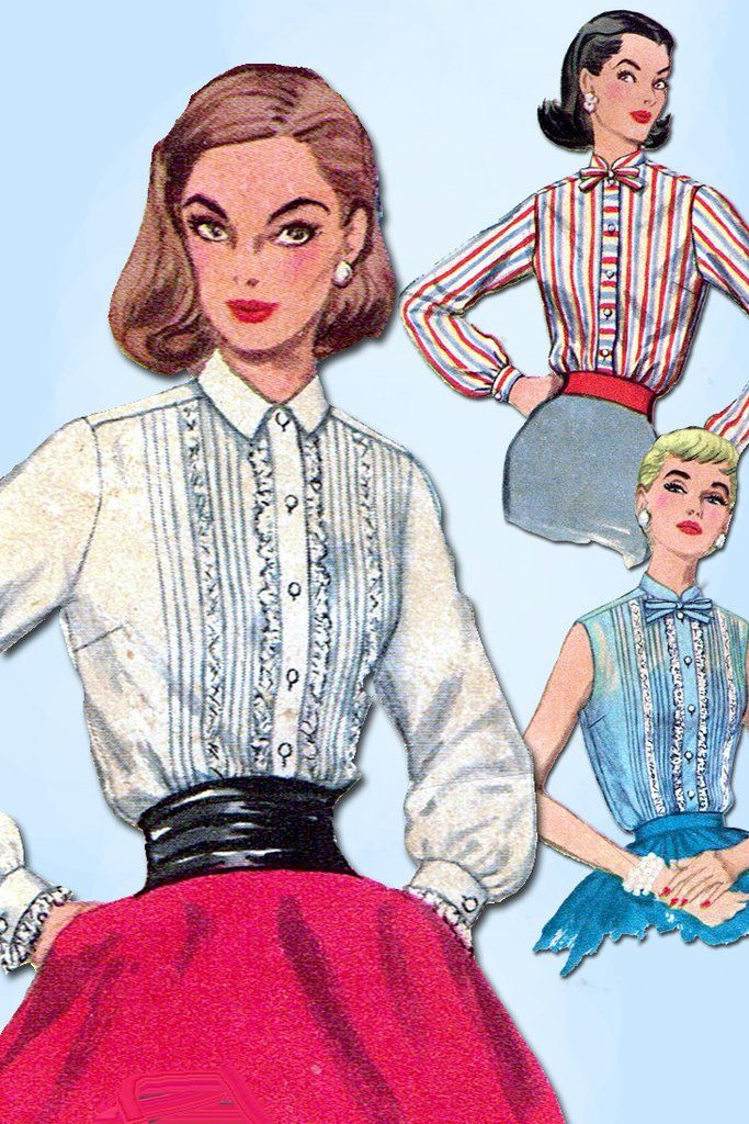 1950s Vintage Simplicity Sewing Pattern 1837 Misses Tucked Blouse ...
