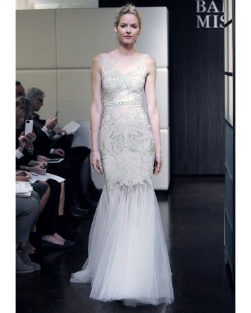 Amazingly intricate beading on this trumpet gown by Badgley Mischka