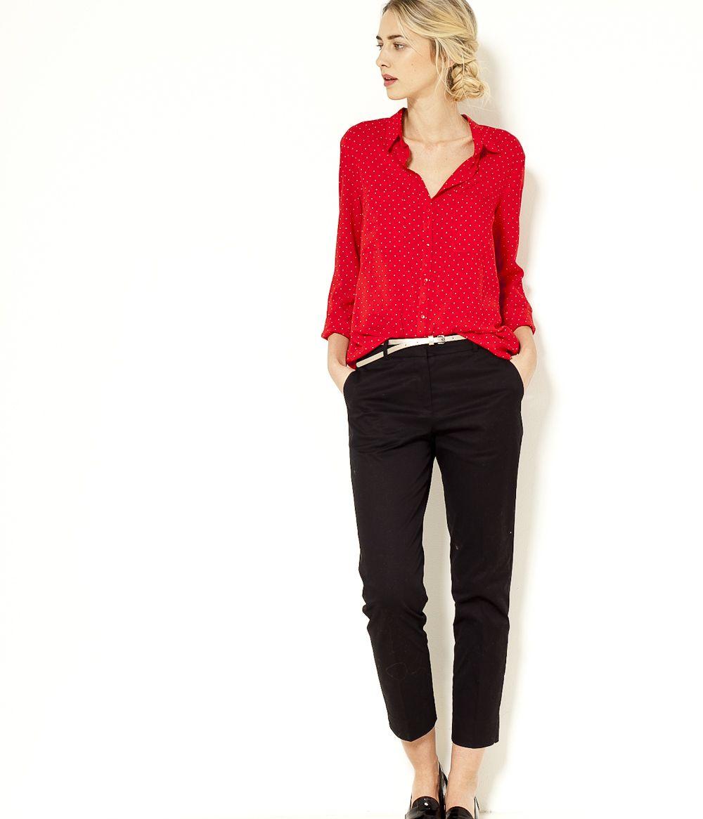b76bc1a0e8399 Pantalon tailleur 7/8 noir Camaïeu 2017 Pantalon Noir, Tailleur Pantalon,  Veste Femme