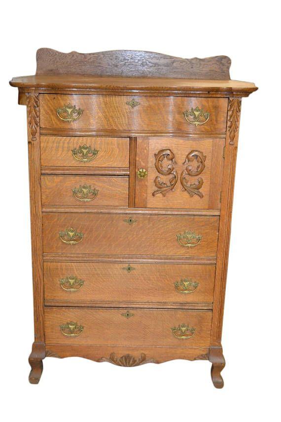 Antique Tiger Oak Chest Of Drawers Golden Oak Era Circa