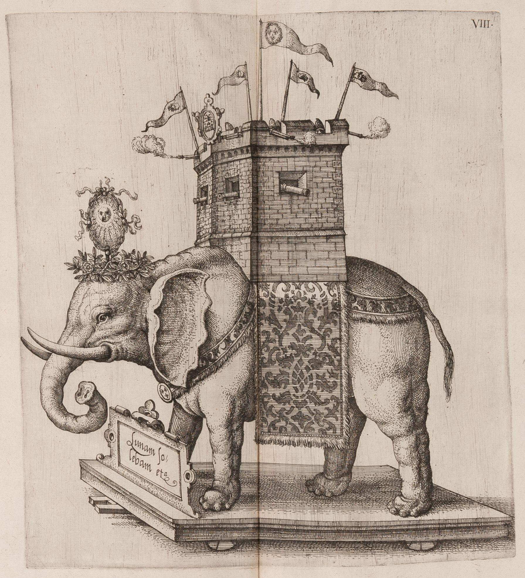 Float in the shape of an elephant from La joyeuse & magnifique entrée de Monseigneur Francoys, fils de France et frère unique du roy. Attributed to Abraham de Bruyn (1540–c. 1587), Antwerp, 1582