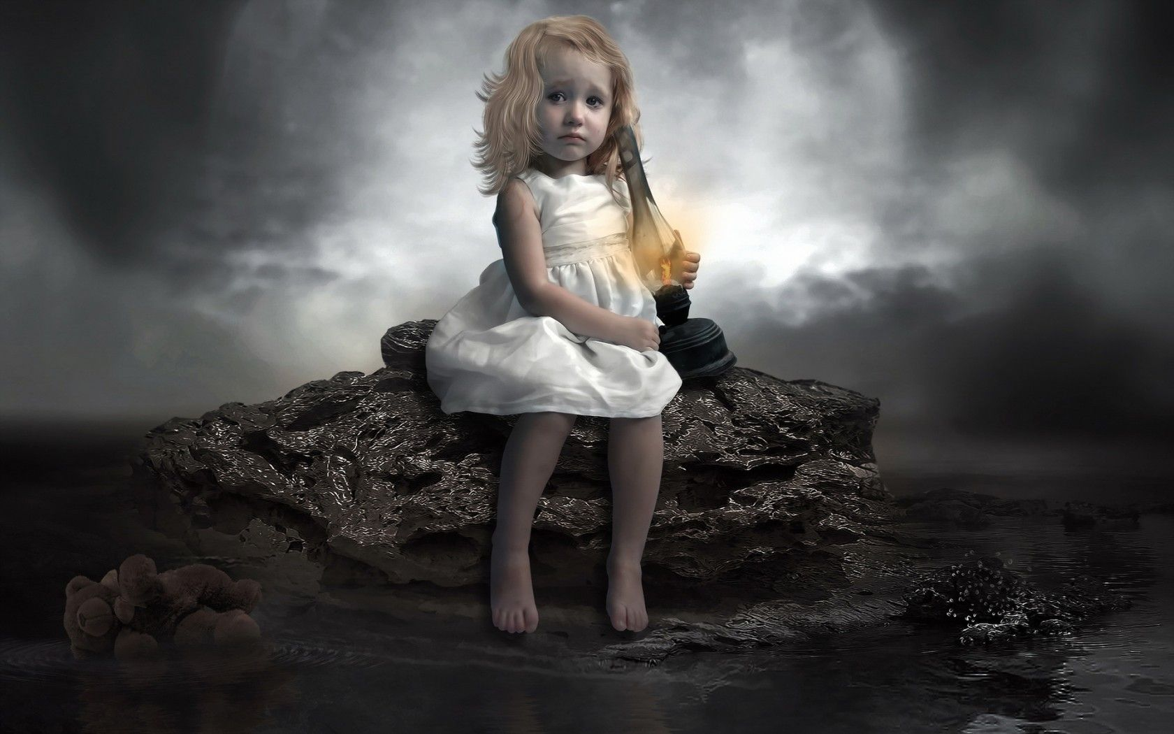 Child Dark Moon Sad Wallpaper. Download free cute baby