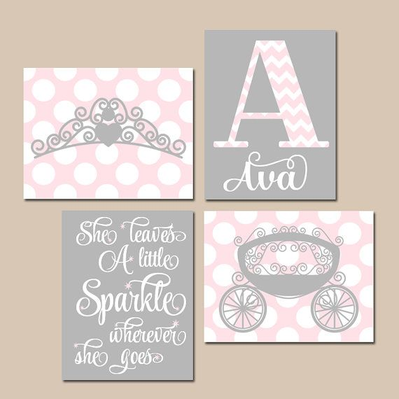 PINK GRAY Nursery Art,Princess Wall Art,Baby Girl PRINCESS Decor,She ...