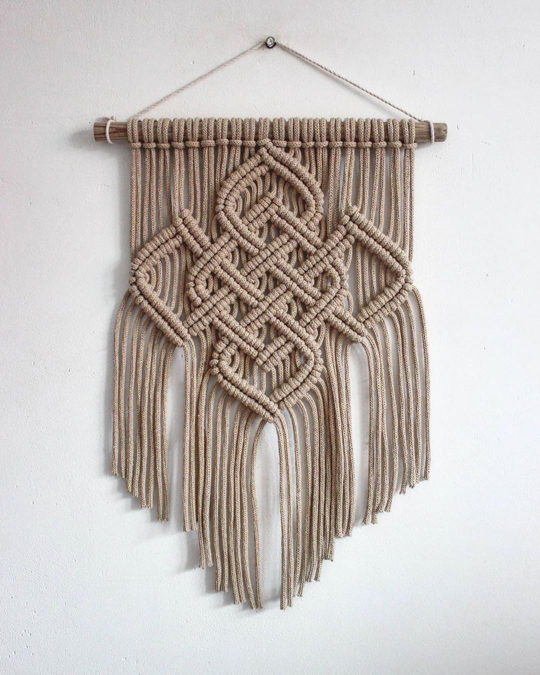 "Hannah's Instagram photo: ""How cool is this piece!! Love the Celtic pattern! Beautiful work by @macramessage  #macrame #fibreart #macramé #bohomacrame #celticmacrame…"""
