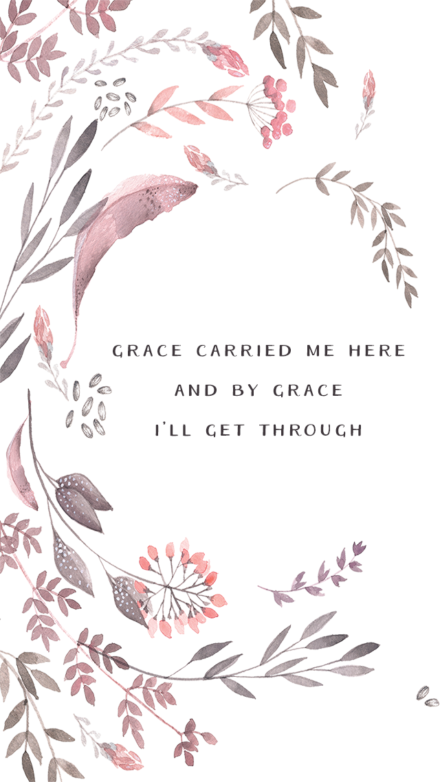 Pink illustrated watercolour floral Grace iphone wallpaper ...