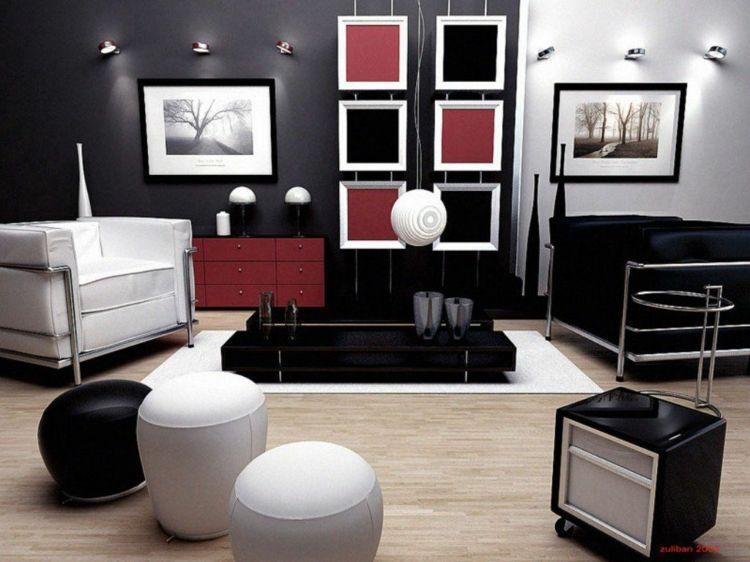 kreative Wandgestaltung mit Farbe Wohnzimmer Ideen Schwarz Weiß - wohnzimmer ideen schwarz