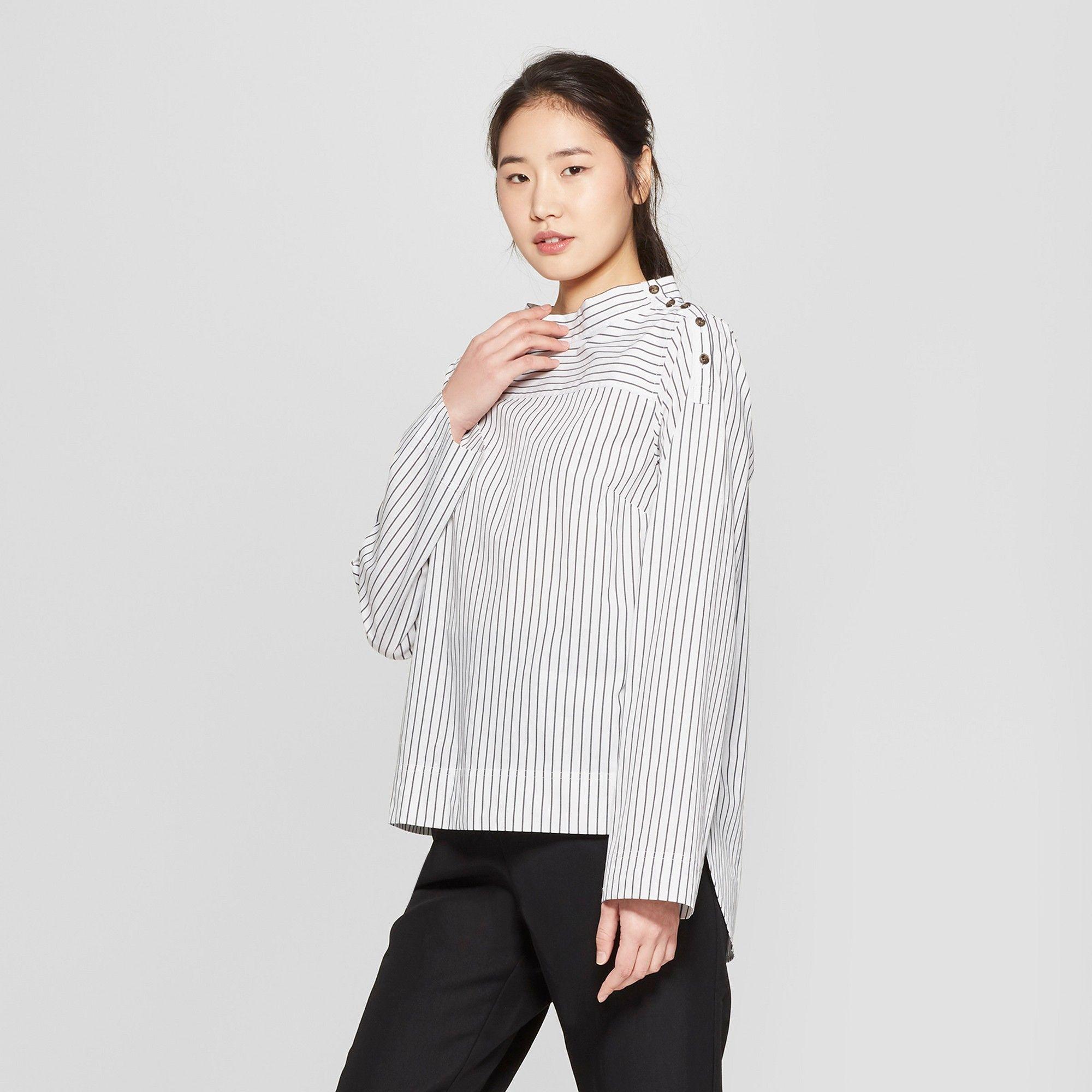 df8432dc Women's Striped Long Sleeve Shoulder Button Popover Blouse - Who What Wear  White/Black Xxl