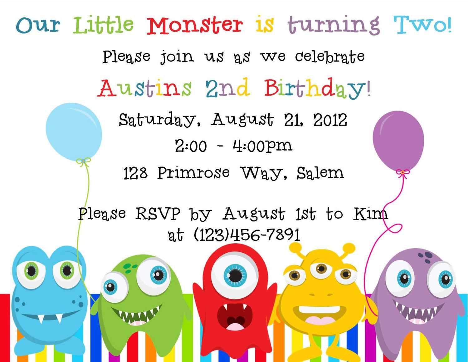 Little Monster Birthday Invitation - (Digital File ...