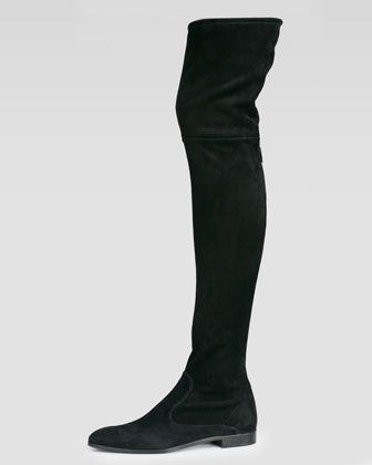 Prada Suede Flat Thigh High Boot, Black | Thigh high boots