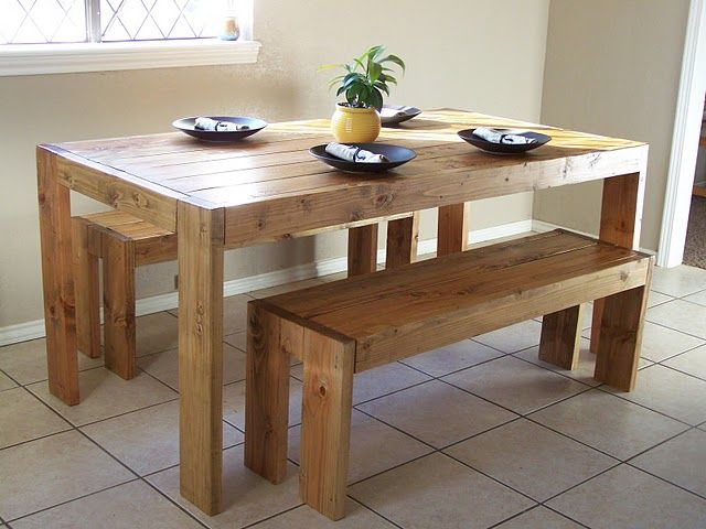 Farmhouse table plan would make it using 4x4 posts for 4x4 dining table