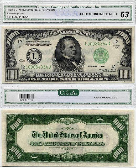 Thousand Dollar Bill Thousand Dollar Bill Dollar Bill Banknotes Money
