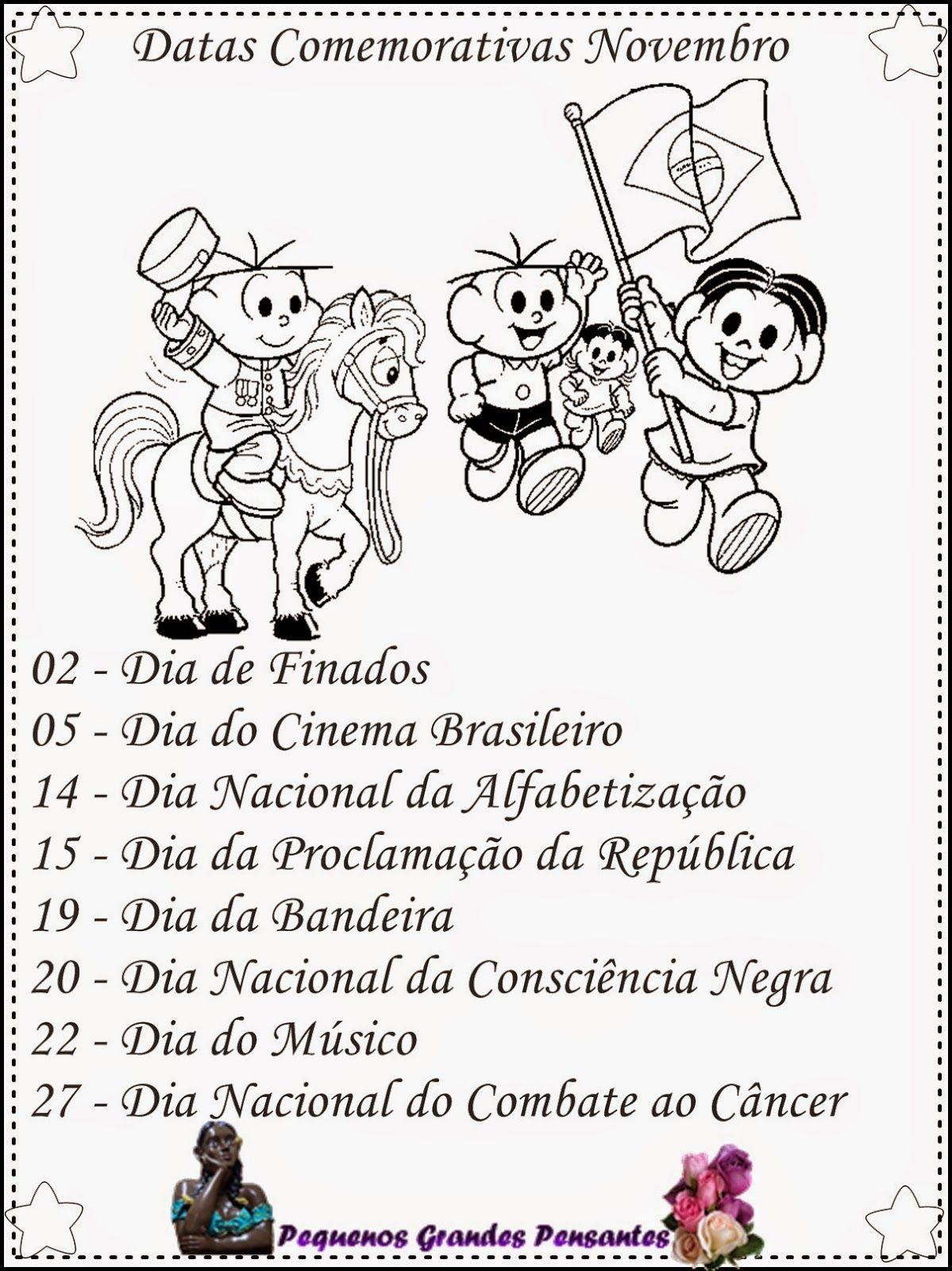 Datas Comemorativas De Novembro Para Educacao Infantil Com Imagens Datas Comemorativas Educacao Infantil Datas Comemorativas De Novembro Calendario De Datas Comemorativas