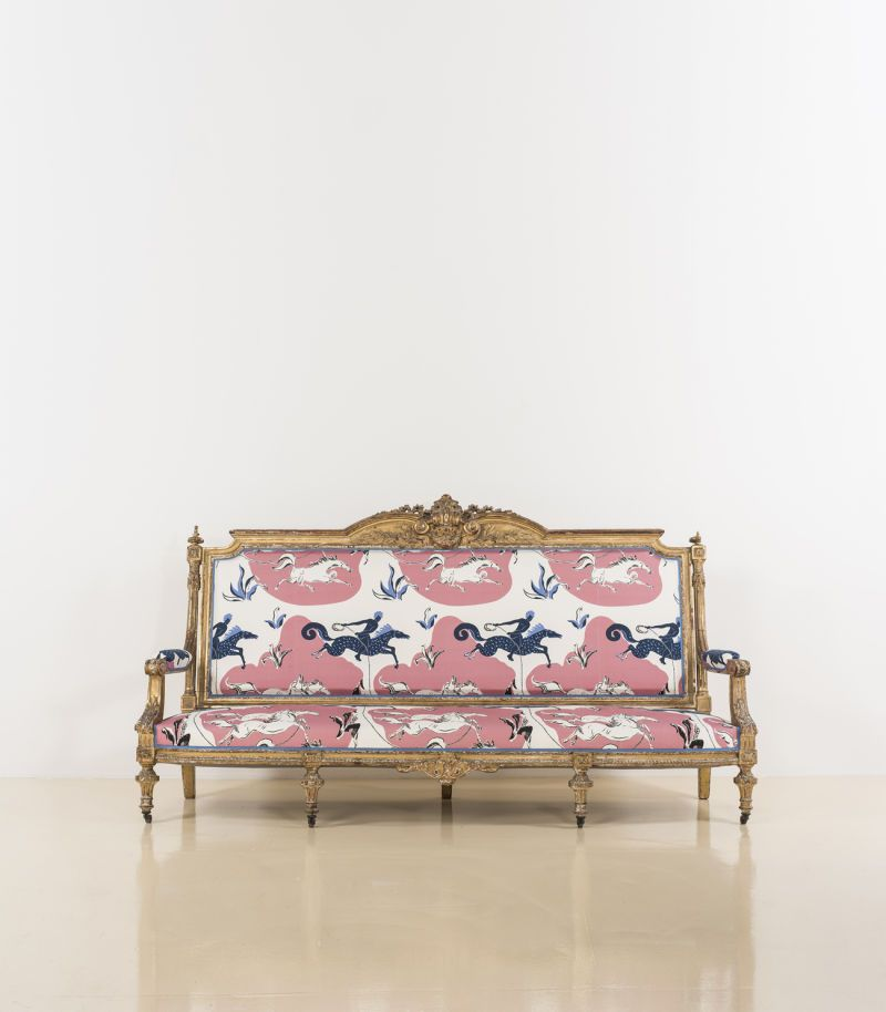 Vincent Darre Auktionshaus Piasa Canape En Bois Pierre Frey Et Miroirs En Verre