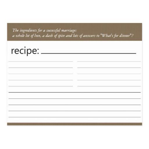 Bridal Shower Recipe Card Recipe cards and Bridal showers - recipe card
