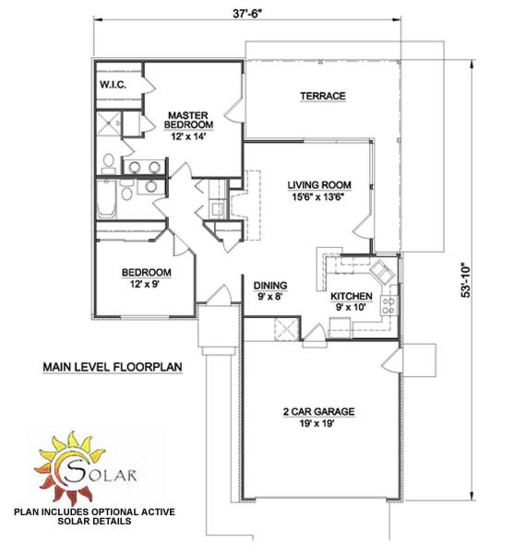 Ranch Style House Plan 2 Beds 2 Baths 970 Sq Ft Plan 116 151 Ranch Style House Plans House Layout Plans House Plans