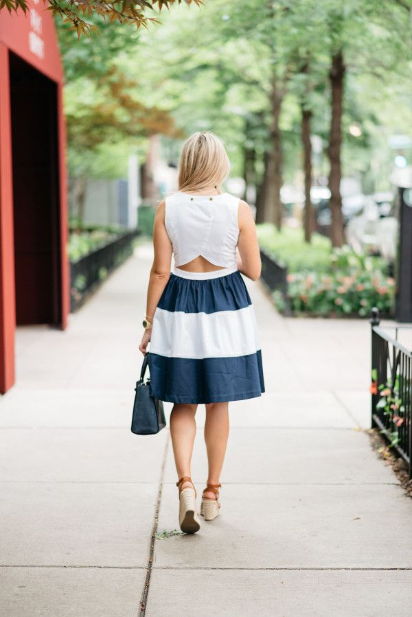 766df8882f11 Elizabeth McKay Navy   White Striped Dress