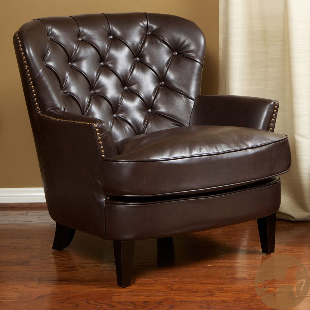 Christopher Knight Home Tafton Tufted Brown Leather Club Chair |  Overstock.com
