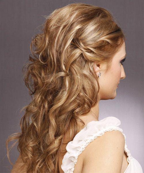 how to style curly hair for pics for gt curly hairstyles half up half back view 6110